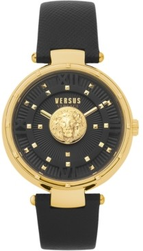 Versus By Versace Women's Moscova Black Leather Strap Watch 38mm