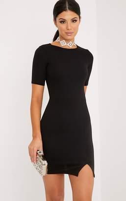 PrettyLittleThing Freya Black Split Detail Capped Sleeve Bodycon Dress