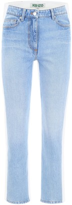 Kenzo Tiger Patch Contrast Straight Leg Jeans