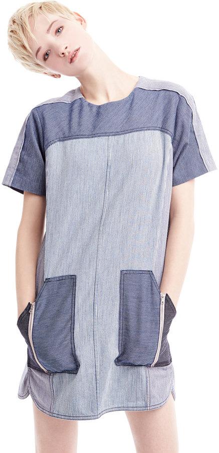 Rebecca Taylor Railroad Two-Tone Denim Dress