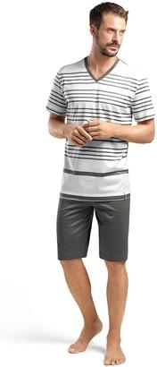 Hanro Men's Oscar Sleeve Short Stripe Pajama Set