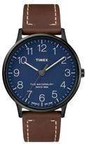 Timex R) Waterburty Leather Strap Watch, 40mm