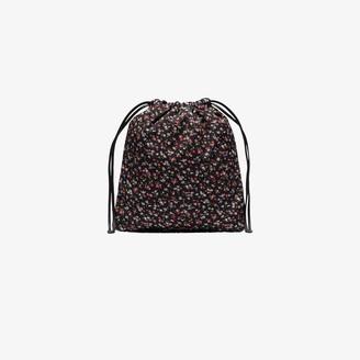 Miu Miu black Faille ditsy floral drawstring bag