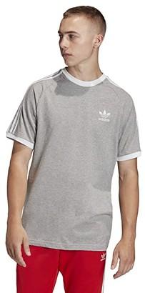 adidas 3-Stripe Tee (Medium Grey Heather) Men's Clothing