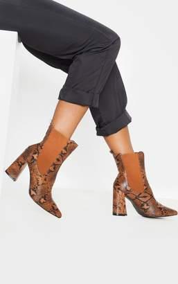 PrettyLittleThing Brown Snake Point Toe Block Heel Chelsea Ankle Boot