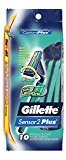 Gillette Sensor2 Plus Pivot Men's Disposable Razor, 10 count, (Pack of 3)