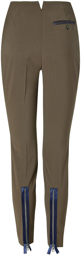 Paul Smith Olive Green Pants with Contrast Zipper Detail