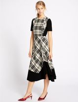 Marks and Spencer Cotton Blend Checked Midi Dress