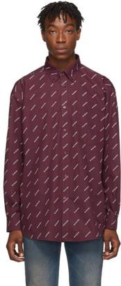 Balenciaga Burgundy and White All Over Logo Shirt