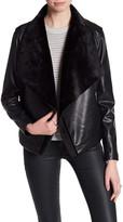 BB Dakota Faux Fur and Leather Drape Front Jacket