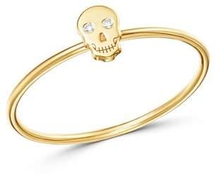 Chicco Zoë 14K Yellow Gold Itty Bitty Skull Ring with Diamonds
