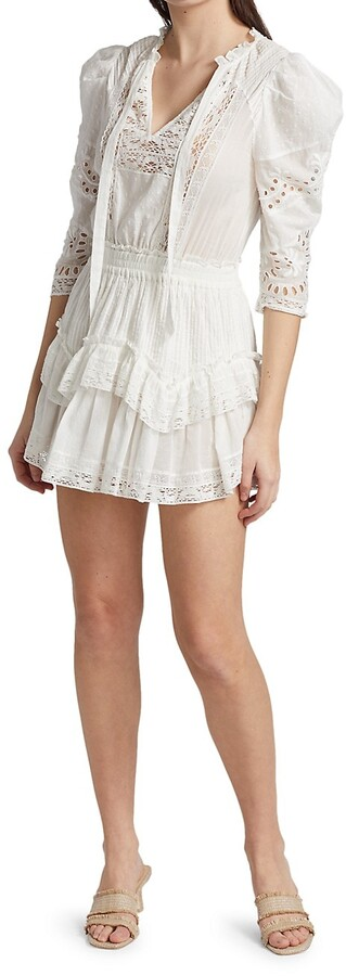 LoveShackFancy Under The Archway Isidore Lace Mini A-Line Dress