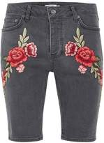 Topman Grey Rose Embroidery Denim Shorts