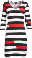 Black & Red Stripe Three-Quarter Sleeve Dress