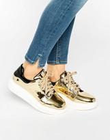 Daisy Street Gold Metallic Platform Sneakers