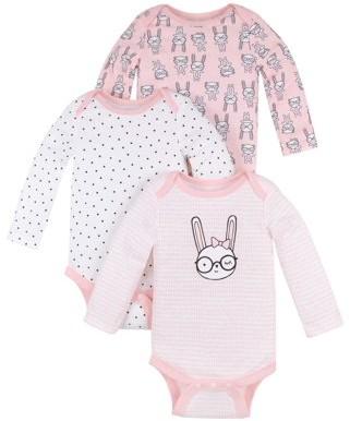 Little Star Organic Baby Girl Long Sleeve Pure Organic Bodysuits, 3 Pack