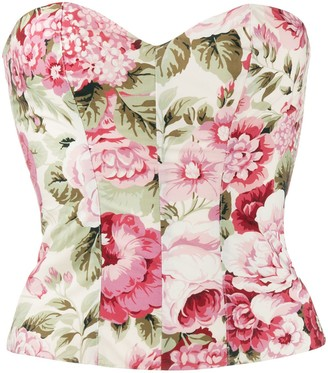 P.A.R.O.S.H. Floral Print Strapless Top