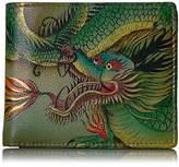Anuschka Handpainted Rfid Blocking Two Fold Organizer Hidden Dragon Wallet