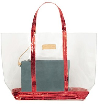 Vanessa Bruno Large transparent Canvas and Sequins Cabas Tote Bag