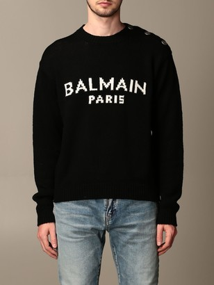 Balmain Sweater Pullover With Jacquard Logo And Buttons