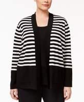 Anne Klein Plus Size Striped Open Cardigan