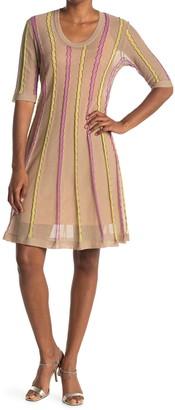 M Missoni Stripe Print Elbow Sleeve Dress