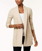 NY Collection Petite Marled-Knit Shawl-Collar Cardigan