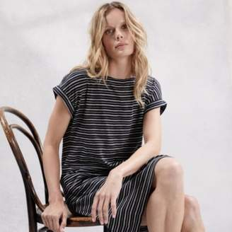 The White Company Cotton Fine Stripe Cocoon Dress, Black, 6