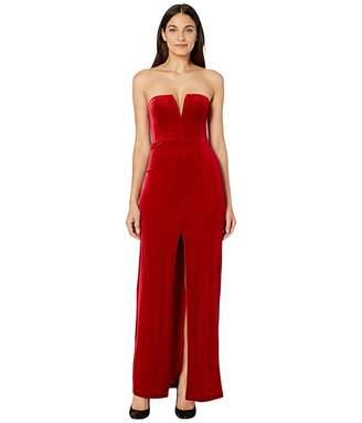 BCBGMAXAZRIA Strapless Velvet Gown (Passion Red) Women's Dress