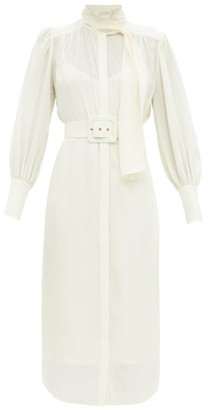 Zimmermann Belted Pussy-bow Silk Shirt Dress - Ivory