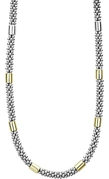 Lagos Sterling Silver & 18K Yellow Gold High Bar Station Necklace, 18