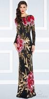 Mac Duggal Multi Color Floral Sequin Column Evening Dress