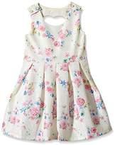 Yumi Girl's Bonded Lace Heart Cut Out Dress (Lemon) Floral Dress
