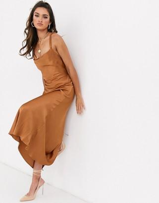 Bec & Bridge lani satin midi dress-Brown