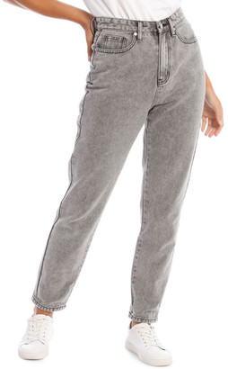 Miss Shop Light Grey Wash Mom Jean