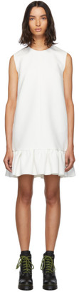MSGM White Double Layer Cady Crepe Dress