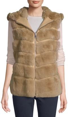 Wolfie Fur Made For Generation Dyed Rex Rabbit Fur Hooded Vest