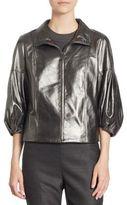 St. John Metallic Leather Jacket