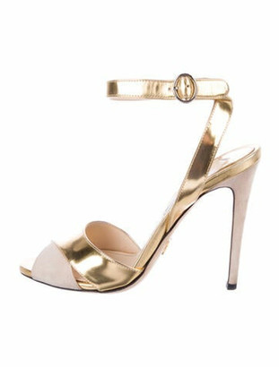 Prada Patent Leather Colorblock Pattern Sandals Gold