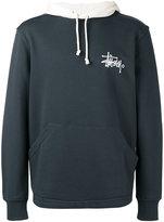 Stussy bicolour drawstring hoodie - men - Cotton - S