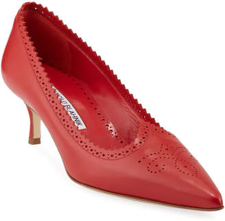 Manolo Blahnik Leather Kitten-Heel Brogue Pumps