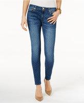 MICHAEL Michael Kors Dot-Print Indigo Wash Skinny Jeans
