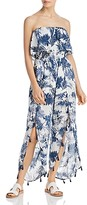 Thumbnail for your product : Surf.Gypsy Denim Palm Leaf Print Ruffled Jumper Swim Cover-Up