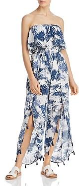 Surf.Gypsy Denim Palm Leaf Print Ruffled Jumper Swim Cover-Up