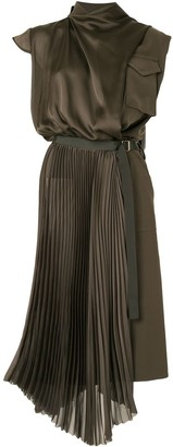Sacai Asymmetric Satin Military Dress