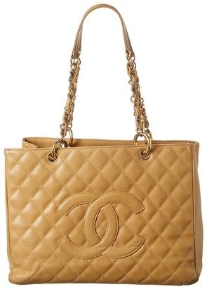 Chanel Tan Caviar Leather Grand Shopping Tote