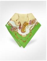 Ornamental Printed Silk Square Scarf