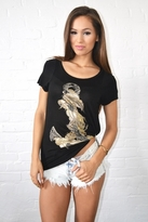 Lauren Moshi Piper Anchor Swing Tee in Black