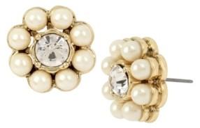 Miriam Haskell Stone Flower Stud Earrings