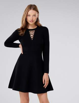 Forever New Danielle Lace-Up Front Knit Dress - Black - 4